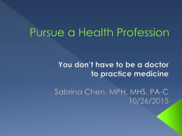 Pursue A Health Profession - Health Professions Program