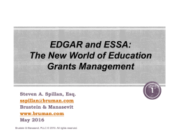 EDGAR and ESSA Training May 2016