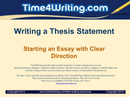 Writing a Thesis Statement Starting an Essay with