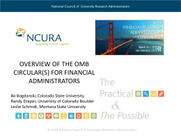 NCURA FRA: Overview of the OMB Circulars