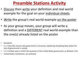 Preamble Stations Activity Discuss