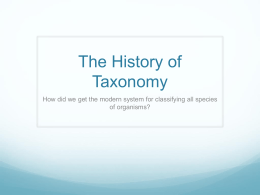 The History of Taxonomy
