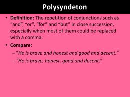 Polysyndeton - Asyndeton 1