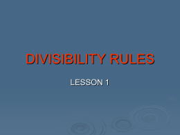Divisibility Rules - Lesson 1.ppt