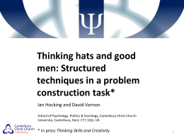 Thinking hats and good men: Structured techniques in a