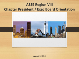 ASSE Region III Chapter President Orientation