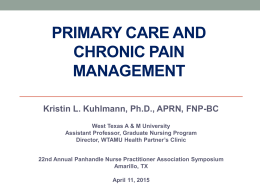 Primary Care and Chronic Pain management