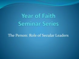 Year of Faith Seminar Series