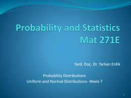 Probability and Statistics Mat 271E