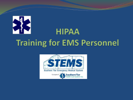 HIPPA Training for EMS Personnel