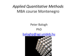 Applied Quantitative Methods II. MBA course Montenegro