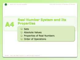 A.4 Real Number System and It`s Properties