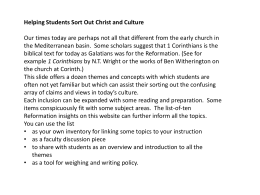 Helping Students Sort out Christ and Culture