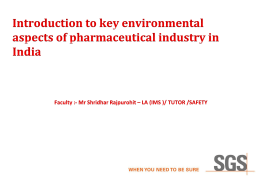 Introduction to key environmental aspects of pharmaceutical industry