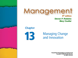 """Managing Change and Innovation"" in"