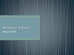 Welcome to Excel