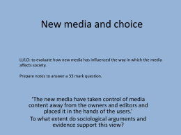 New media and the news