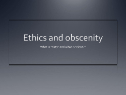 Ethics and obscenity