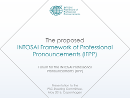FIPP presentation - INTOSAI`s Professional Standards Committee
