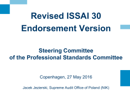 ISSAI 30 - INTOSAI`s Professional Standards Committee (PSC)