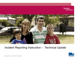 Department of Human Services Incident Reporting
