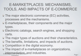 E-MARKETPLACES: MECHANISMS, TOOLS, AND IMPACTS OF E