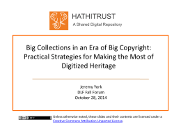 Big Collections - HathiTrust Digital Library