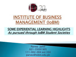 INSTITUTE OF BUSINESS MANAGEMENT (IoBM)