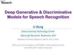Deep Generative Models for Speech Recognition