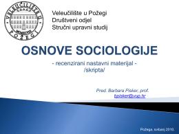 osnove sociologije - Veleučilište u Požegi