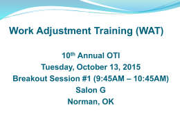 Work Adjustment Training (WAT)