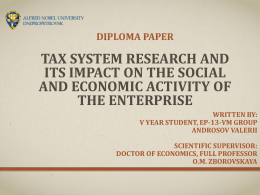 Tax System Research and its Impact on the Social and economic
