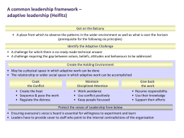 Seven principles in adaptive leadership