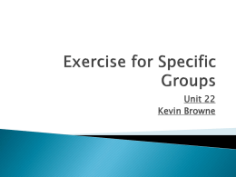 Exercise for Specific Groups