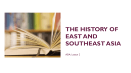 The history of east and southeast asia