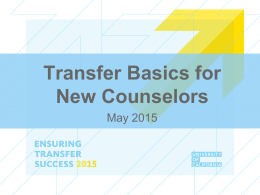 Transfer Basics for New Counselors