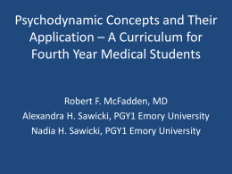 Psychodynamic Concepts and Their Application – A Curriculum for