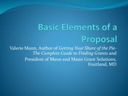 Identifying and Managing Grants (Presentation A, Valerie Mann)
