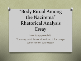 *Body Ritual Among the Nacirema* Rhetorical Analysis Essay