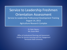STL Assessment Processes - Tennessee State University