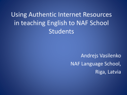 Using Authentic Internet Resources - NATO