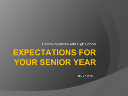 expectations for your senior year - Northside Independent School