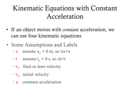 Kinematic Equations with Constant Acceleration