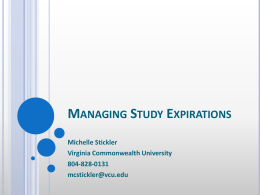 When a study expires… - University of Virginia