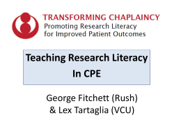 Elements of a Curriculum - Transforming Chaplaincy