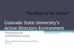 Colorado State University*s Active Directory Environment