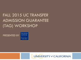 Fall 2015 TAG workshop - CCC Transfer Counselor Website