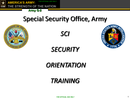 SCI Orientation Briefing