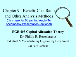 Benefit-Cost Ratio Analysis
