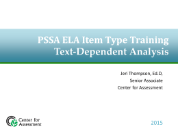 PSSA ELA Item Type Training
